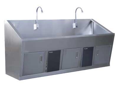 医用双位悬挂式不锈洗手池